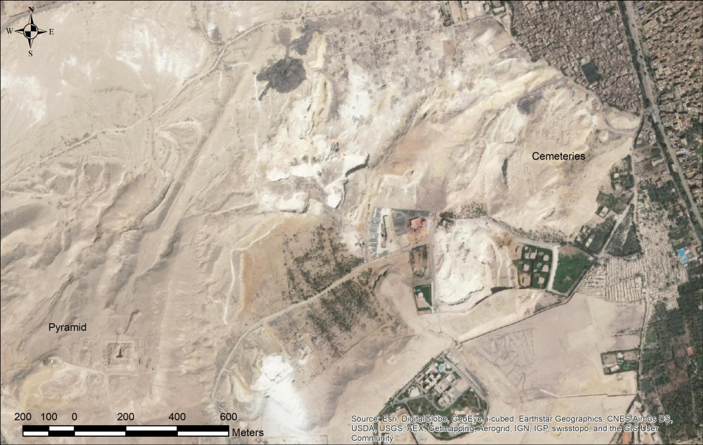 Image of the Abu Rawash area showing considerable quarrying and development around the pyramid and cemeteries.