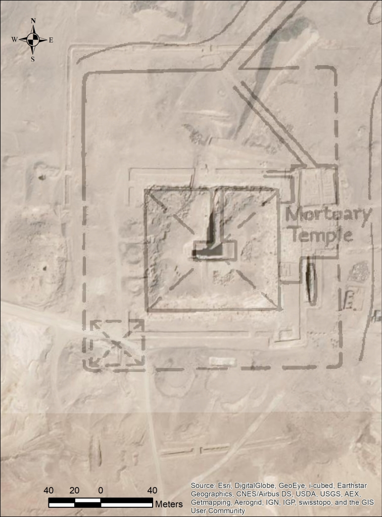 A satellite image of Djedefre's pyramid complex overlaid with the plan from Porter and Moss 1932, map I.