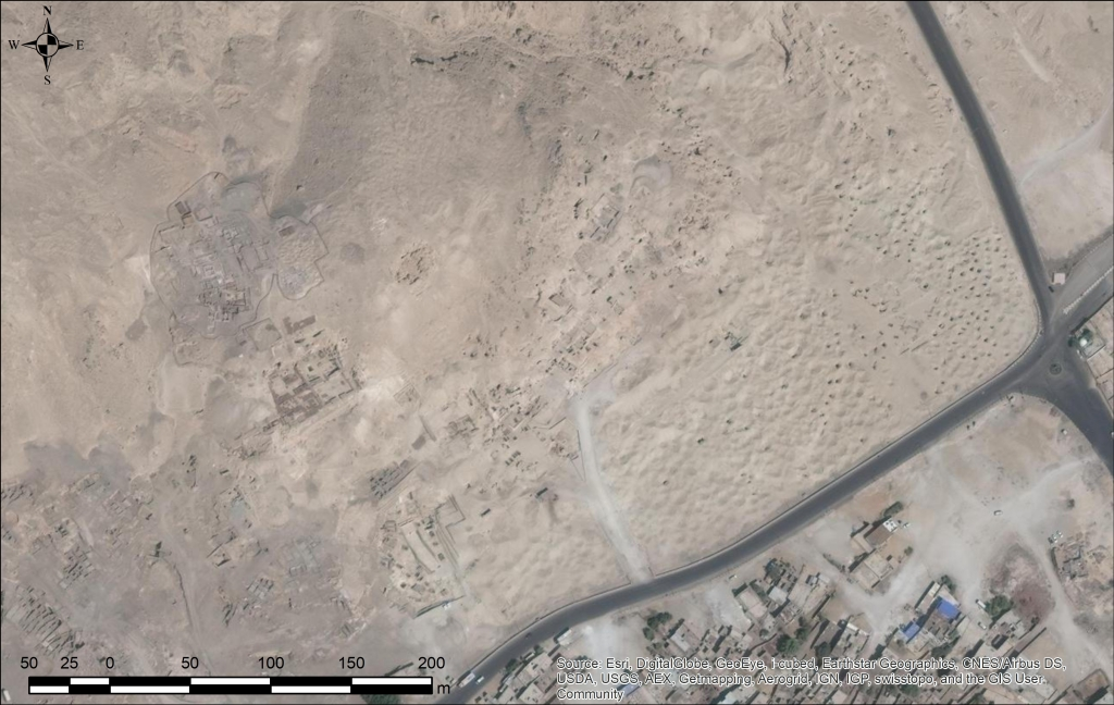 Image of the northern part of Dra Abu el-Naga showing tomb structures and shafts. The image is of a good contrast, recent and shows the features well.