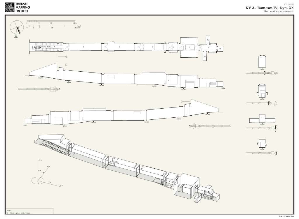 Plan, section and axonometric view of KV2, the same tomb shown in Turin papyrus cat. 1885