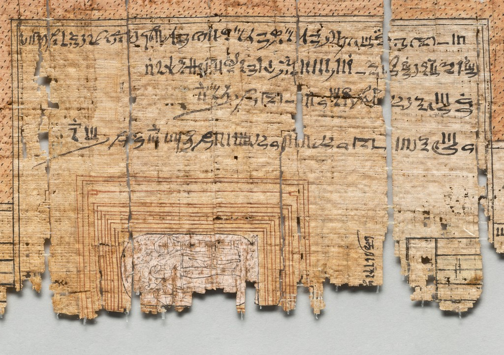 Detail of the burial chamber of the tomb of Ramesses IV from the Turin Papyrus (Cat. 1885) showing six yellow rectangles around the sarcophagus.